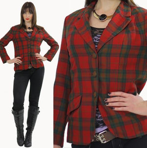 Vintage 80s Bold Abstract Tartan Plaid Boho Draped Wool jacket Coat Top