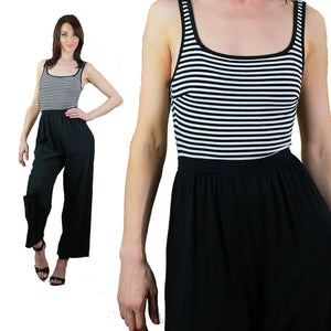 Vintage 70s nautical striped black white jumpsuit sleeveless tank high waist