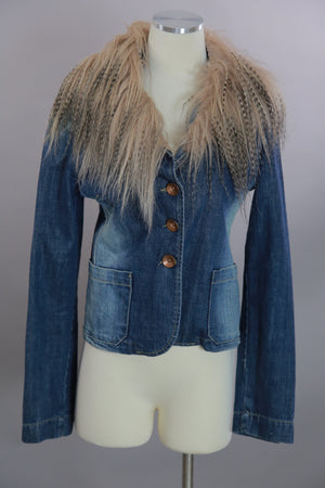 Vintage 80s boho hippie blue denim jacket with long fur trim collar M