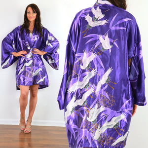 Vintage kimono jacket purple satin white crane bird print boho festival top