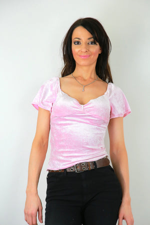 Pink stretch velvet top bohemian flutter sleeve  sweetheart neckline