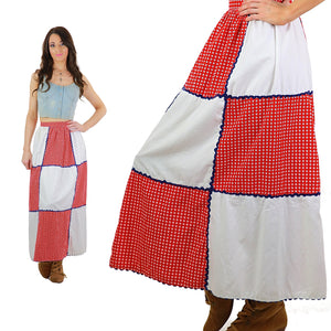 Boho maxi skirt Patchwork Patriotic red white blue Hippie Festival Floral Medium