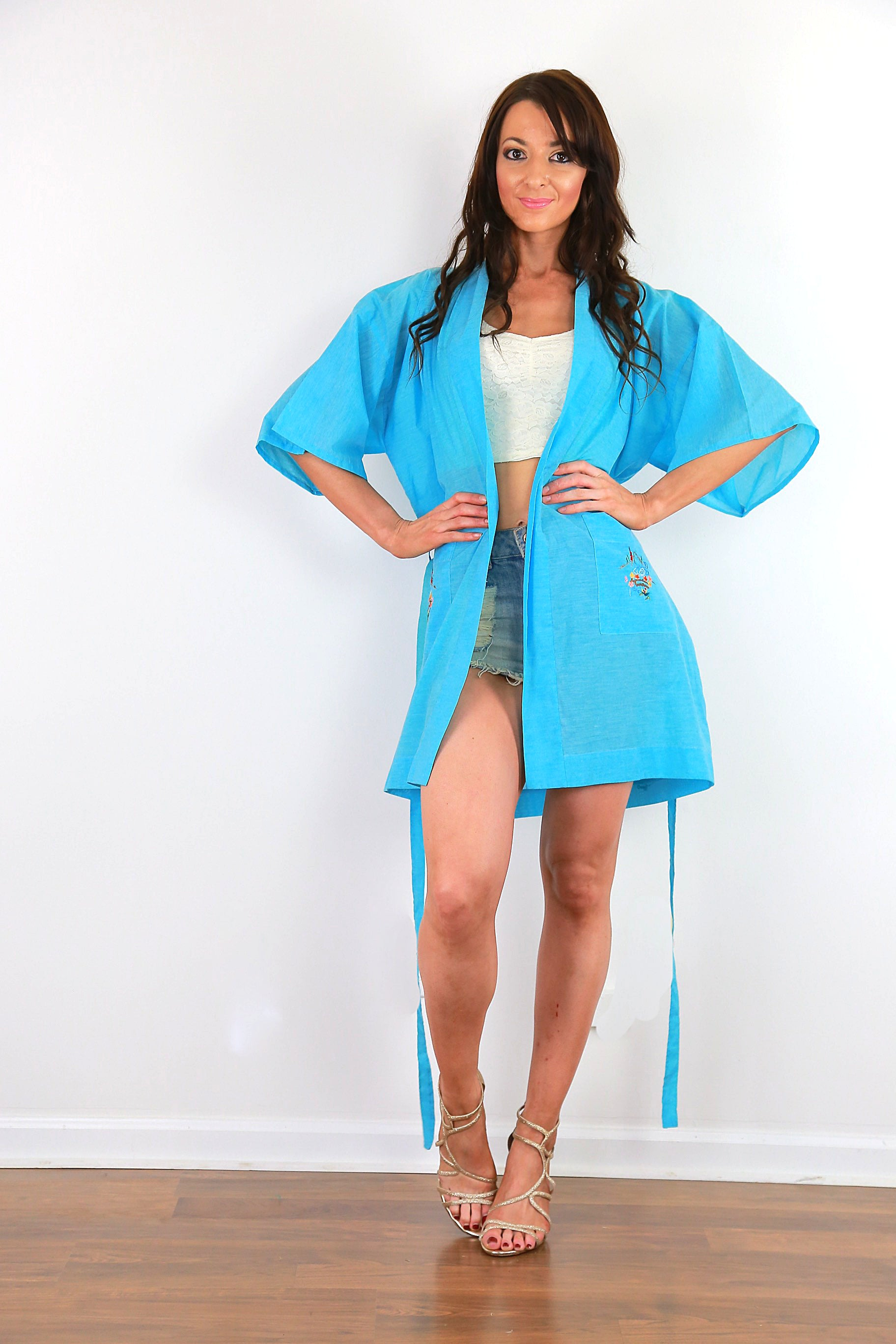 943ca40e6717 Embroidered Blue Kimono robe belted boho jacket bohemian festival coat M