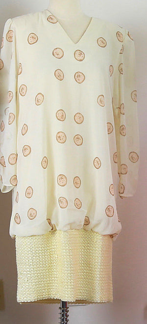 Vintage 80s bubble dress 1980s oversized ivory abstract party dress