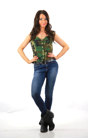 Camouflage Corset top sleeveless button down army Military bustier