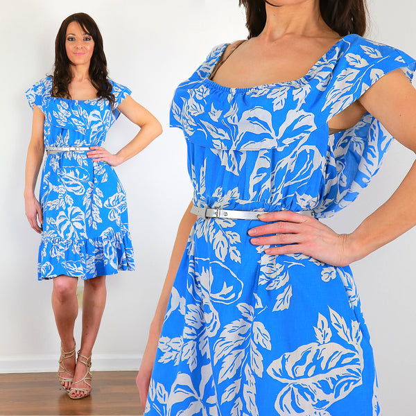 Floral Hawaiian dress genuine vintage 70s blue floral tropical dress