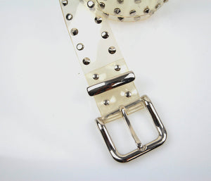 Vintage 70s rocker studded transparent vinyl belt - shabbybabe  - 4