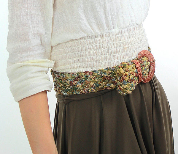 Vintage 70s Boho Metallic Tapestry braided belt - shabbybabe  - 1