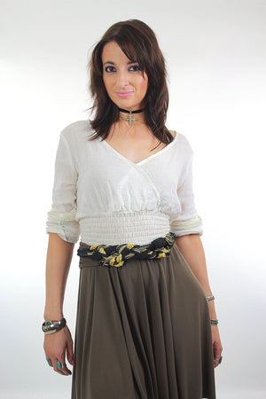 80s Gold metallic rope tunic belt - shabbybabe  - 2