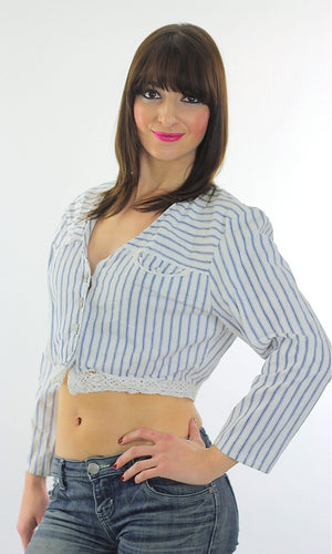 Vintage 90s striped button up blouse crop top - shabbybabe  - 1
