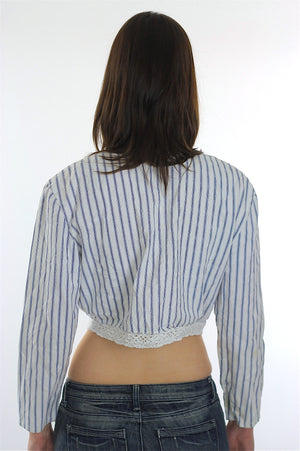 Vintage 90s striped button up blouse crop top - shabbybabe  - 4
