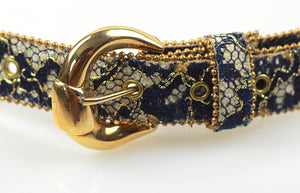 80s Blue White beaded gold metallic belt - shabbybabe  - 3