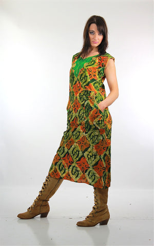 70s Boho Abstract tribal print cotton shift dress - shabbybabe  - 3