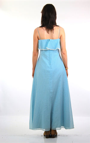 70s Boho Blue Polkadot sheer maxi dress lace Ruffle collar - shabbybabe  - 5