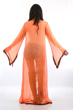 70s sheer silk caftan robe Boho Hippie angel sleeve - shabbybabe  - 6