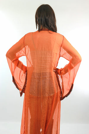 70s sheer silk caftan robe Boho Hippie angel sleeve - shabbybabe  - 8