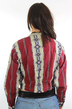 80s Southwestern boho color block cropped jacket - shabbybabe  - 2
