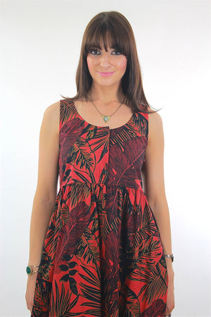 Vintage 90s grunge boho hippie red tropical mini dress - shabbybabe  - 1