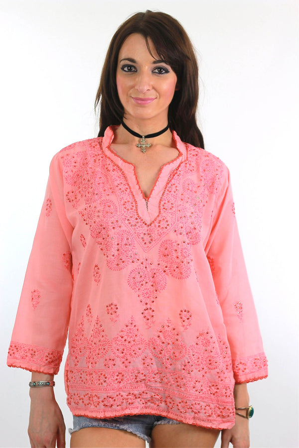 70s Boho hand embroidered sequin peasant tunic top - shabbybabe  - 1