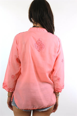 70s Boho hand embroidered sequin peasant tunic top - shabbybabe  - 3