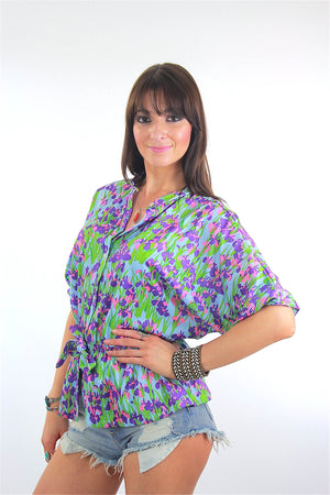 Vintage 70s Boho Hippie Floral tunic top blouse - shabbybabe  - 3