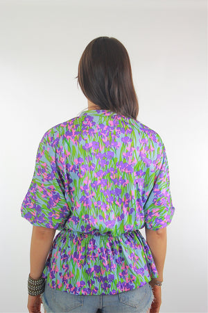 Vintage 70s Boho Hippie Floral tunic top blouse - shabbybabe  - 4