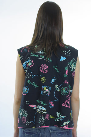 80s Boho Reversible Abstract Travel design vest top - shabbybabe  - 4