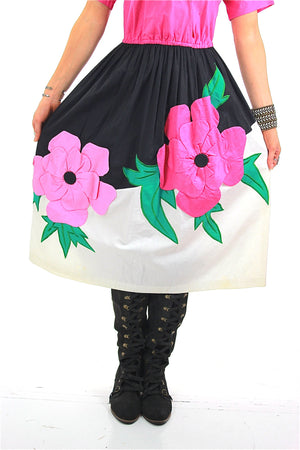 70s Mexican floral applique full skirt dress Jesus A Diaz - shabbybabe  - 2