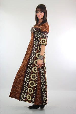 70s Hippie Bohemian Hawaiian tribal floral caftan dress - shabbybabe  - 3