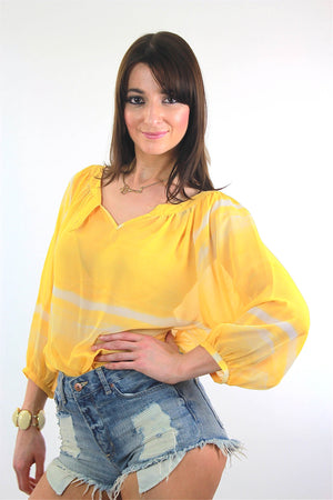 70s Boho Sheer draped tie dye yellow peasant top shirt - shabbybabe  - 3