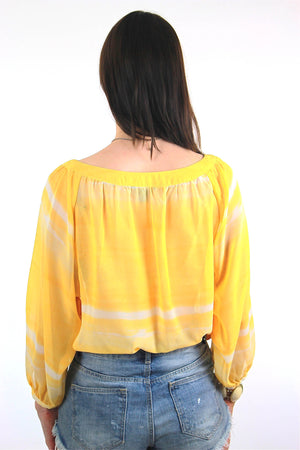 70s Boho Sheer draped tie dye yellow peasant top shirt - shabbybabe  - 4