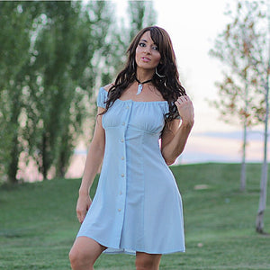 Boho off shoulder button up mini dress - shabbybabe  - 1