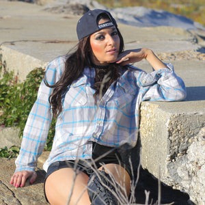 90s Grunge Blue white plaid flannel shirt - shabbybabe  - 1