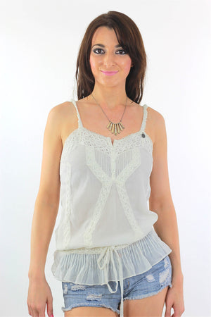 White Mesh Tank top 90s Boho sheer lace top Embroidered - shabbybabe  - 2