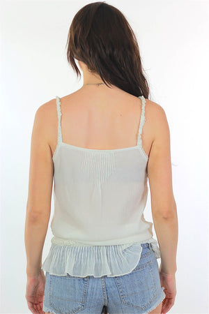 White Mesh Tank top 90s Boho sheer lace top Embroidered - shabbybabe  - 4