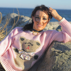 Hand knit pink Teddy Bear sweater - shabbybabe  - 1