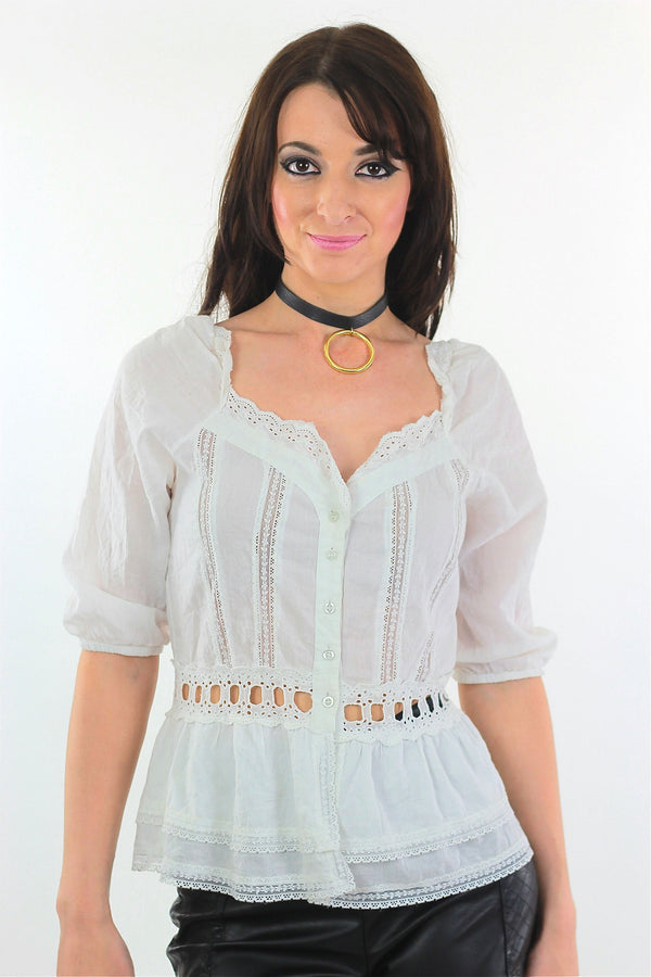 90s White lace top Vintage Festival sheer Hippie Shirt - shabbybabe  - 1