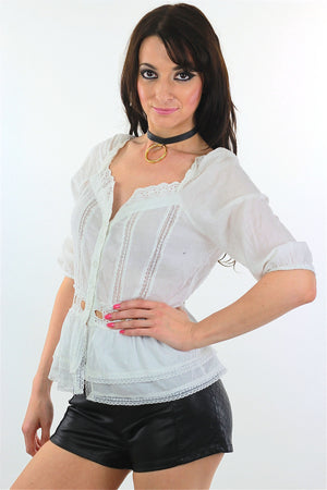 90s White lace top Vintage Festival sheer Hippie Shirt - shabbybabe  - 3