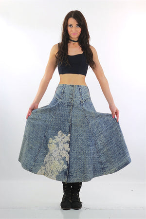 80s Acid wash skirt High waist Button up Circle skirt - shabbybabe  - 1