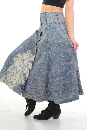 80s Acid wash skirt High waist Button up Circle skirt - shabbybabe  - 3