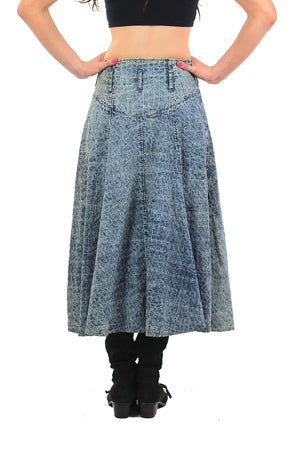 80s Acid wash skirt High waist Button up Circle skirt - shabbybabe  - 4