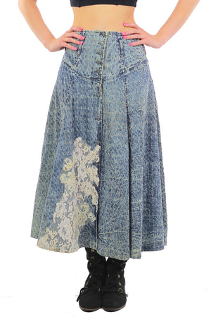 80s Acid wash skirt High waist Button up Circle skirt - shabbybabe  - 2