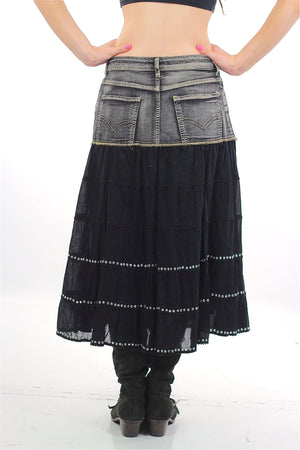 Vintage 90s Denim Skirt Acid wash Grunge maxi skirt - shabbybabe  - 2