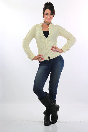 Cable knit cardigan sweater fitted long sleeve wool - shabbybabe  - 2