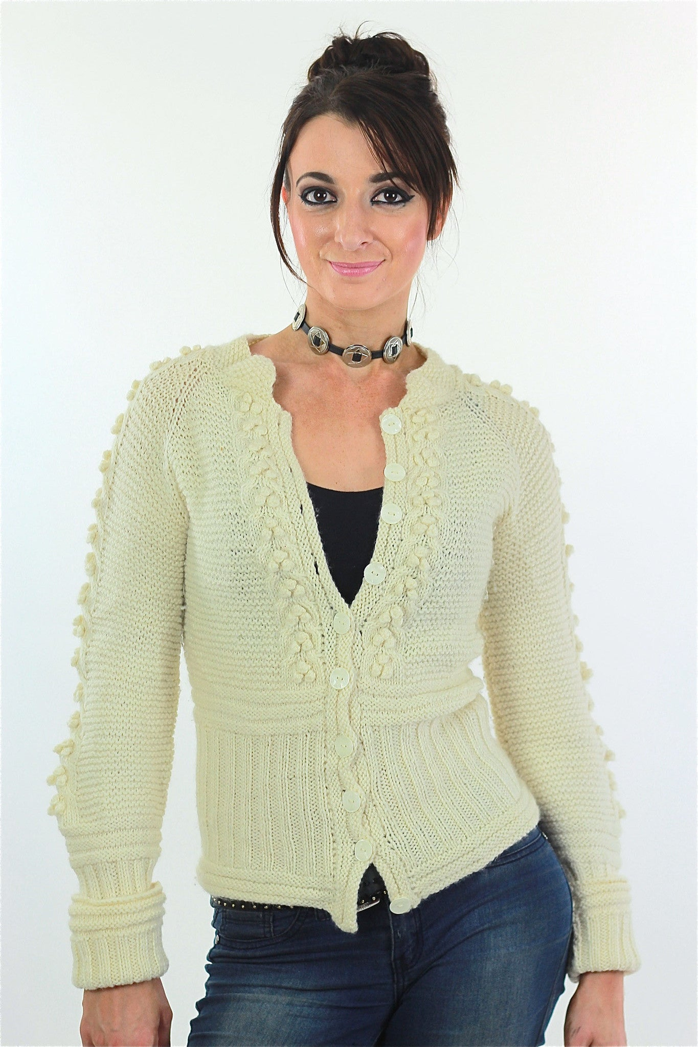 Cable knit cardigan sweater fitted long sleeve wool - shabbybabe