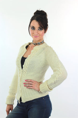 Cable knit cardigan sweater fitted long sleeve wool - shabbybabe  - 3