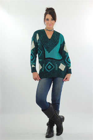 Vintage 80s Deep V Ribbed Abstract Sweater Green Black - shabbybabe  - 2