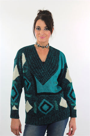 Vintage 80s Deep V Ribbed Abstract Sweater Green Black - shabbybabe  - 3