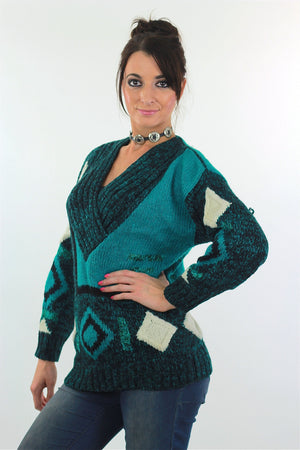 Vintage 80s Deep V Ribbed Abstract Sweater Green Black - shabbybabe  - 1