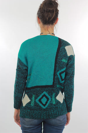 Vintage 80s Deep V Ribbed Abstract Sweater Green Black - shabbybabe  - 4